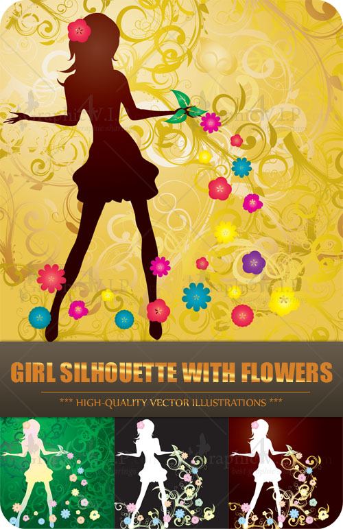 Girl Silhouette with Flowers - Stock Vectors