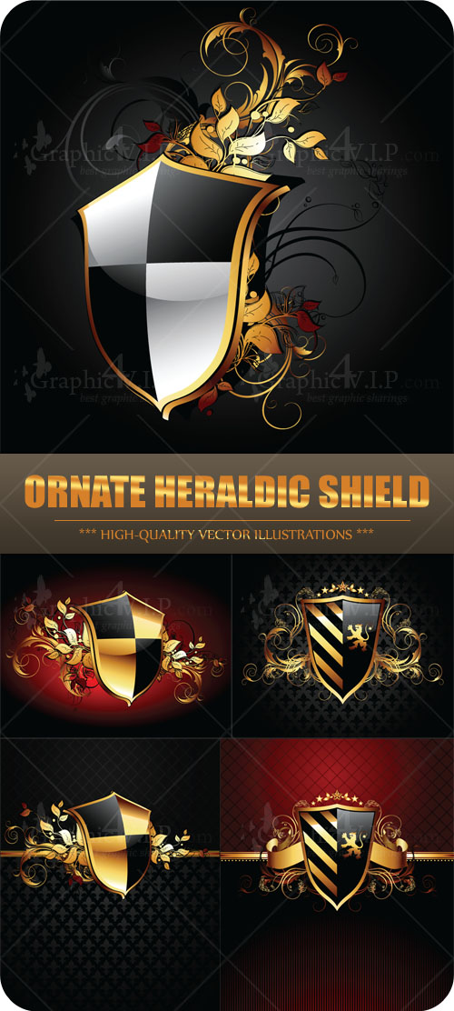 Ornate Heraldic Shield - Stock Vectors