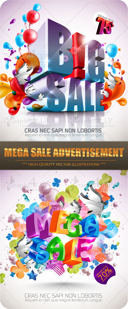 Mega Sale Advertisement - Stock Vectors