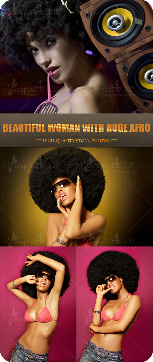 Beautiful Woman With Huge Afro - Stock Photos