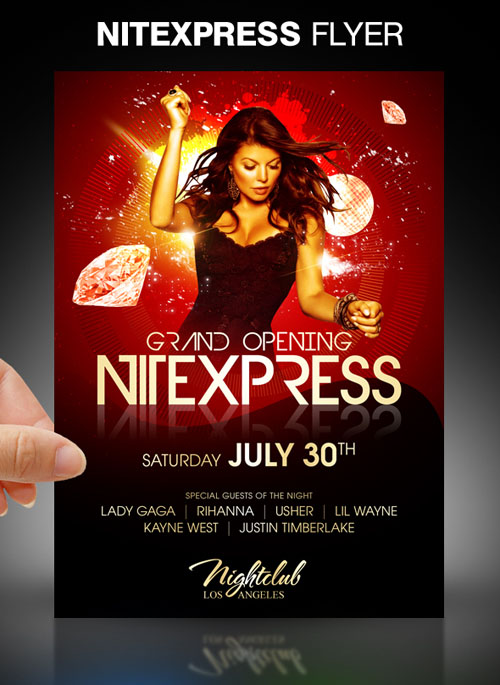 nitexpress party flyer psd template psd 10 5 cm x 14 8 cm bleeds 0 1 ...