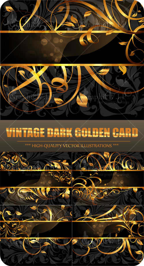 Vintage Dark Golden Card - Stock Vectors