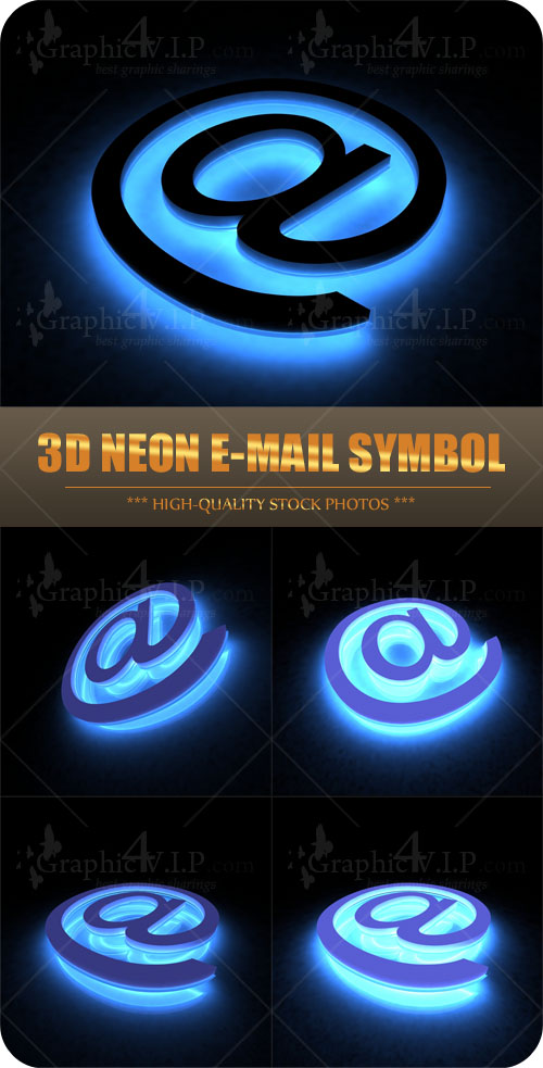 3D Neon E-mail Symbol - Stock Photos