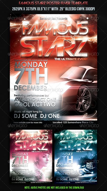 Famous Starz Flyer Poster Template - PSD Template