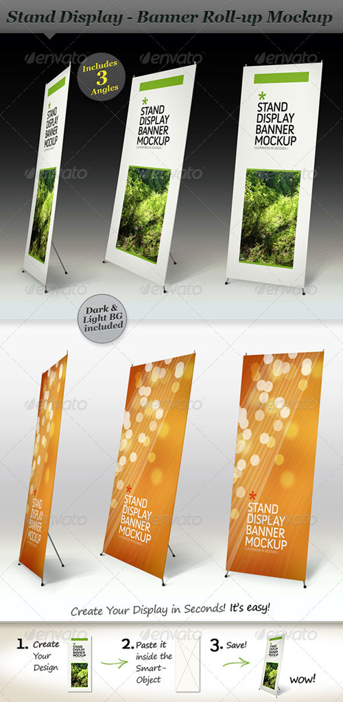 Stand Display Mockup - Roll-up Smart PSD Template