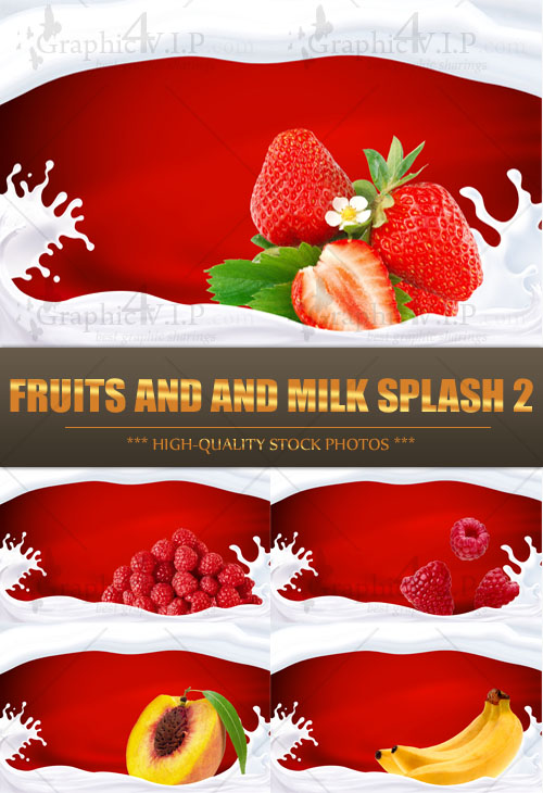 Fruits and and Milk Splash 2 - Stock Photos
