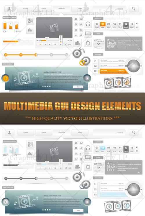 Multimedia GUI Design Elements - Stock Vectors