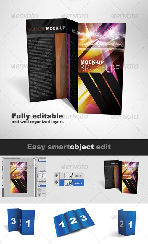 GraphicRiver Tri-Fold Brochure Mock-up Pack - 3 Styles