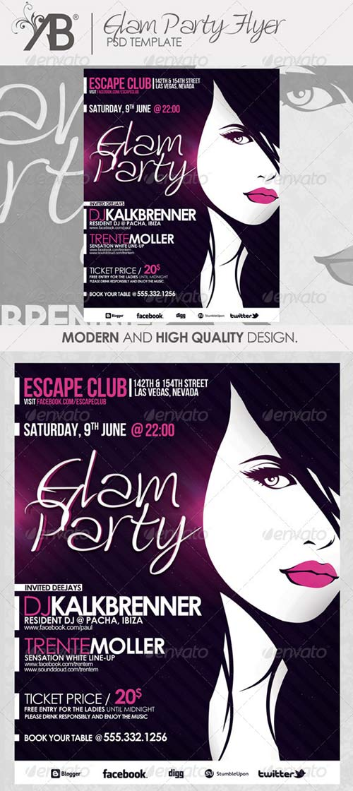 GraphicRiver Glam Party PSD Template