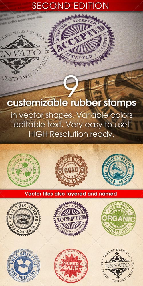 GraphicRiver 9 Customizable Rubber Stamps 2nd Edition