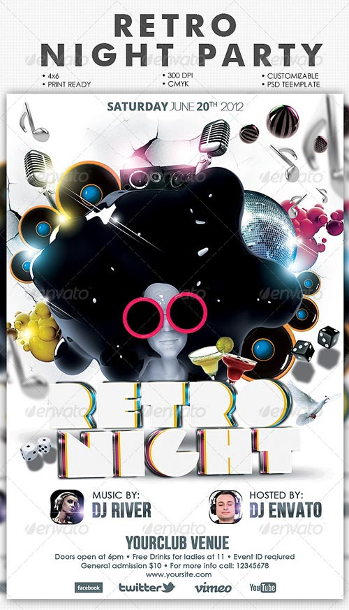 GraphicRiver Retro Night Party Flyer Template