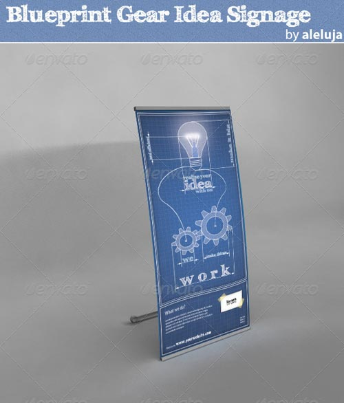 GraphicRiver Blueprint Gear Idea Signage
