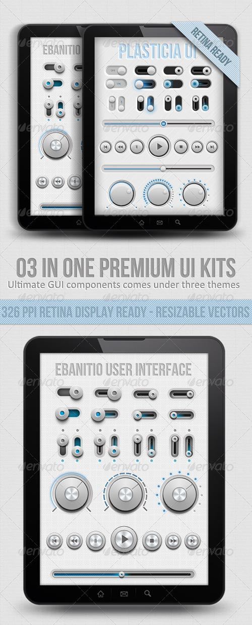 GraphicRiver Ui Kit For Retina Displays - 03 In One