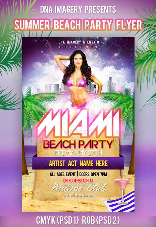 GraphicRiver Miami Beach Party Flyer