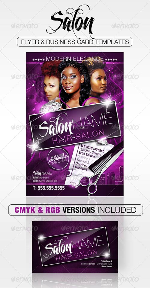 GraphicRiver Salon Flyer and Business Card Templates
