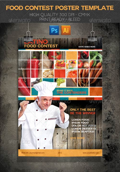 Graphicriver latino food contest poster template for 11x17 poster template photoshop