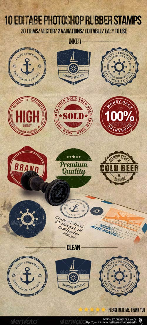 GraphicRiver 10 Editable Photoshop Rubber Stamps