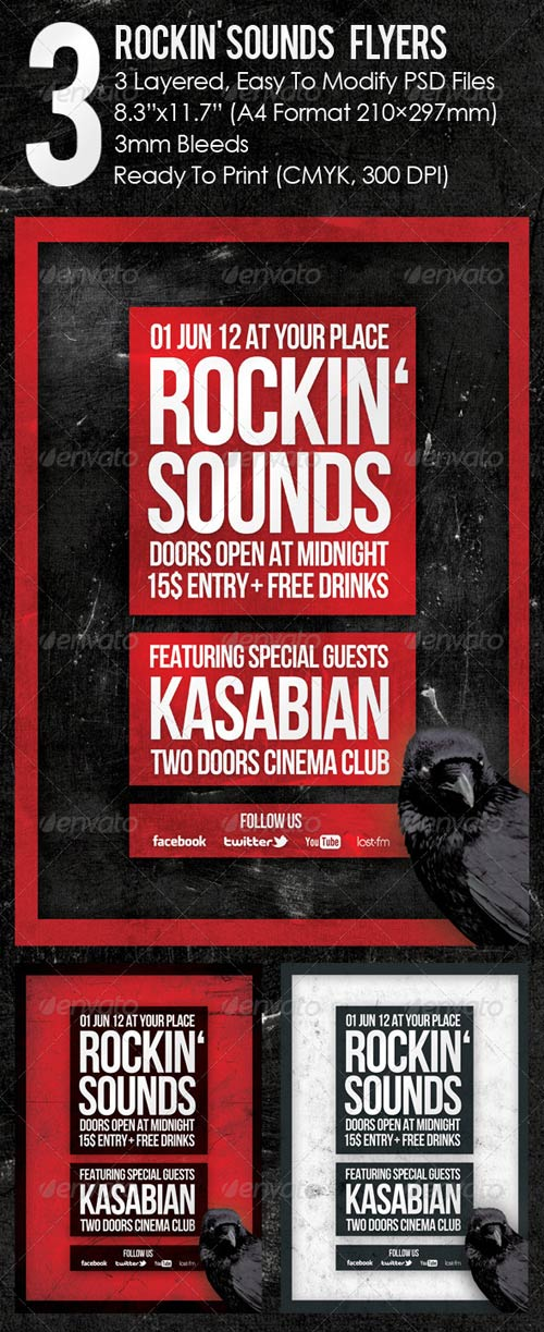 GraphicRiver 3 Rockin' Sounds Flyers