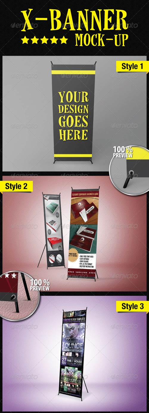 GraphicRiver Standing X-Banner Mockup
