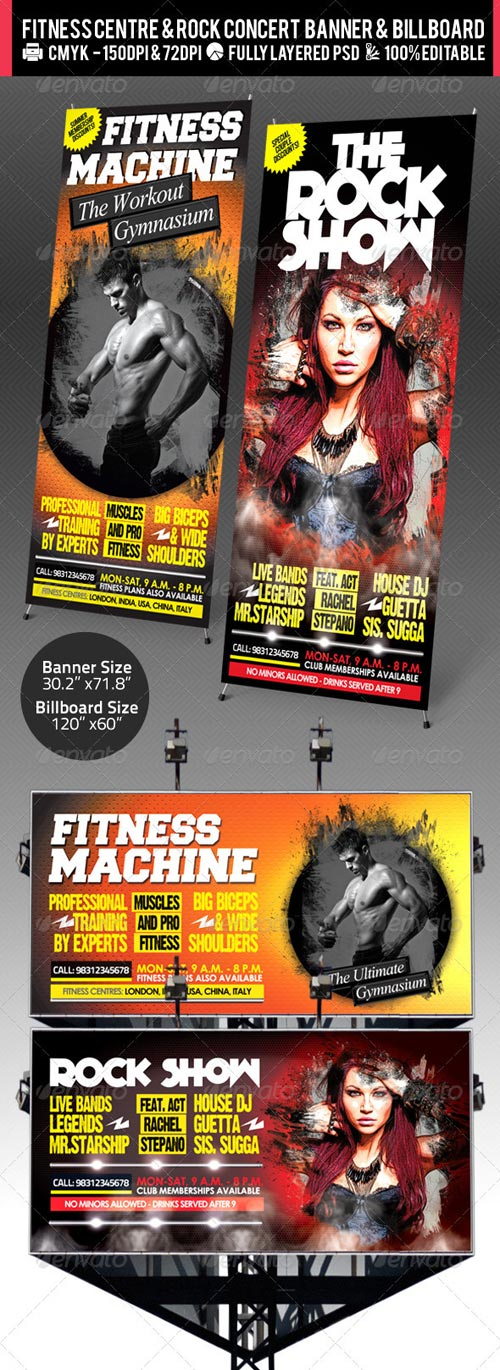 GraphicRiver Rock Concert & Fitness Club Billboard+Banner PSD
