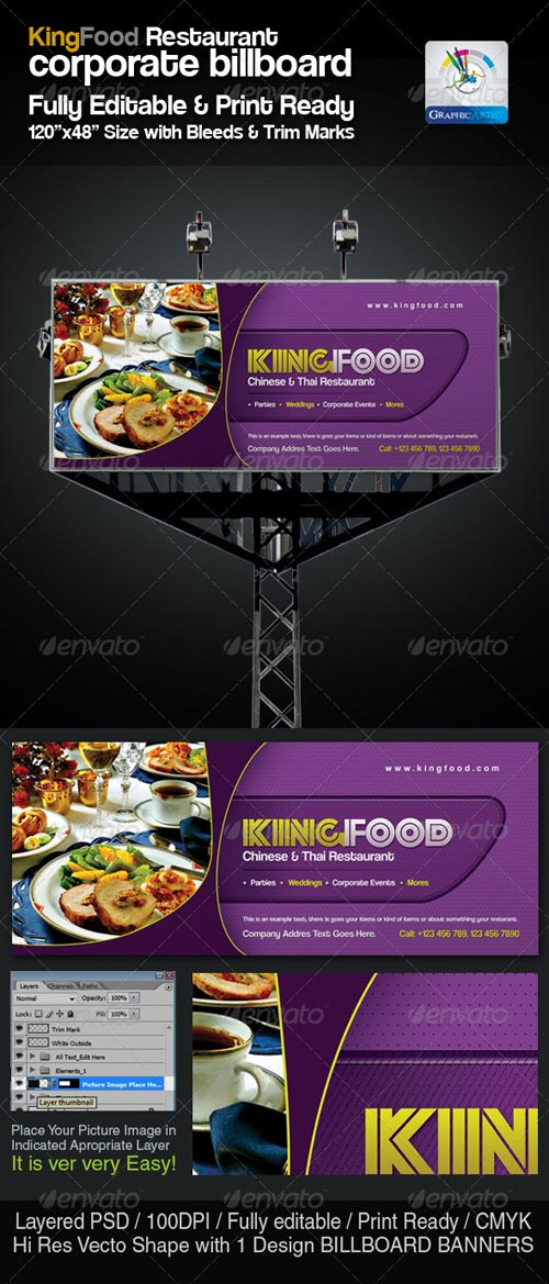 GraphicRiver Corporate Restaurant Billboard Sinage