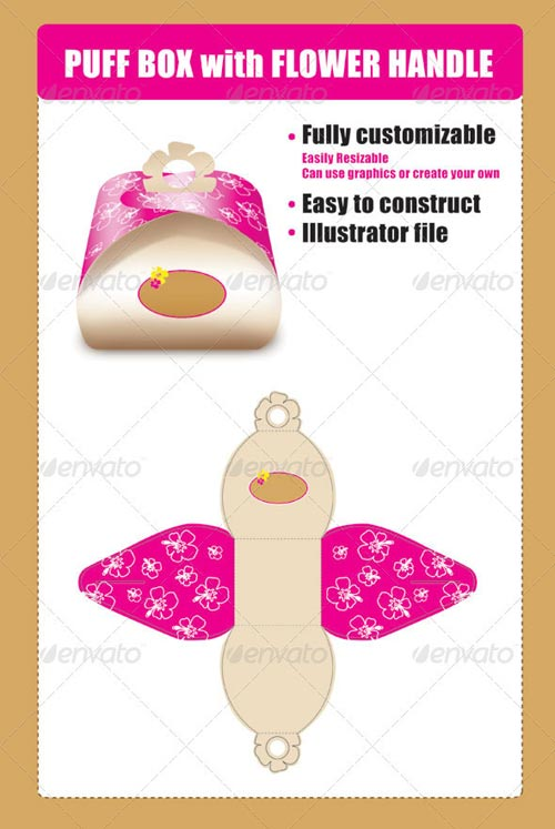 GraphicRiver Puff Box Template with Flower Handle