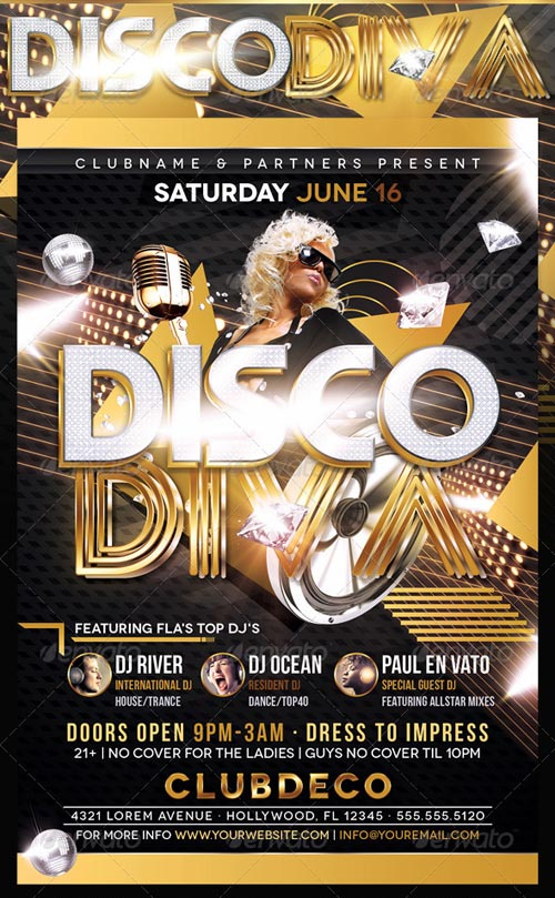 GraphicRiver Disco Diva Flyer Template