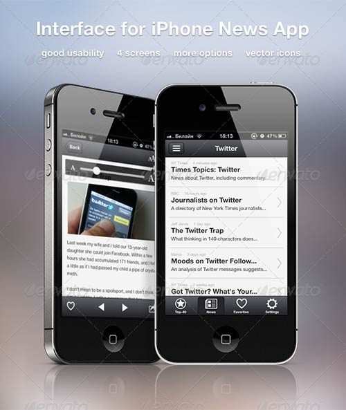 GraphicRiver Interface for iPhone News App