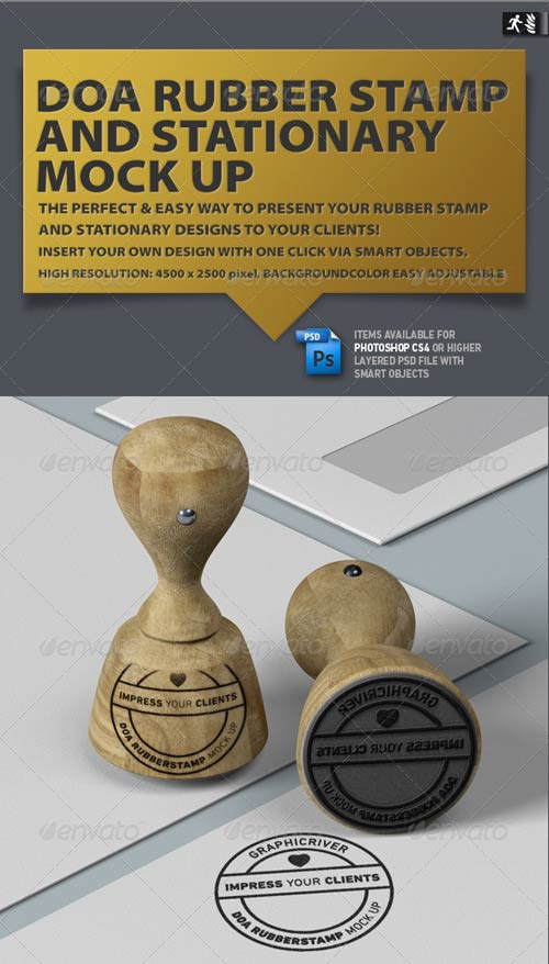 GraphicRiver DOA Rubber Stamp and Stationary Mock Up