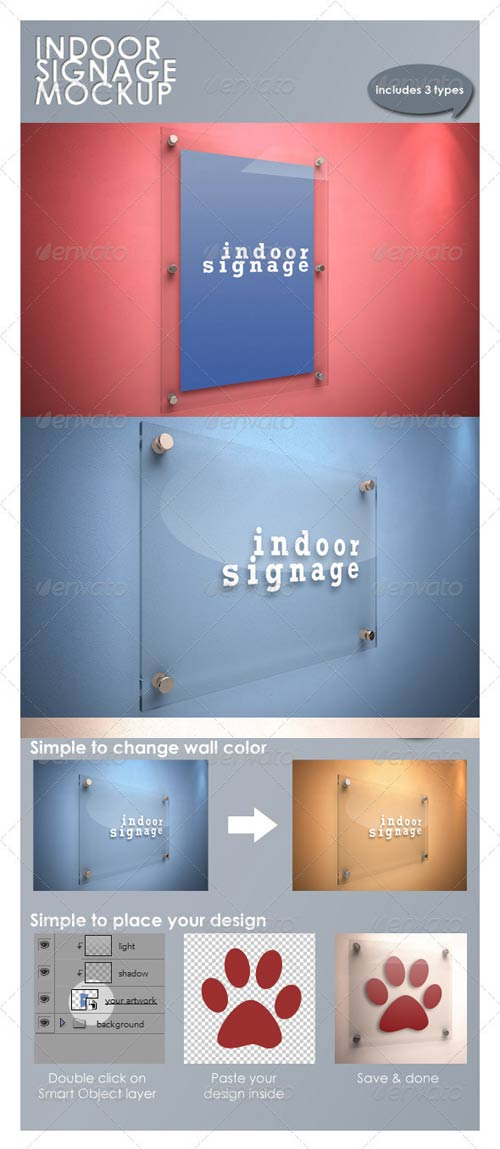 GraphicRiver Indoor Signage Mockup