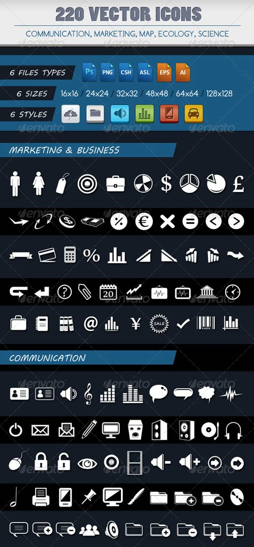 GraphicRiver 220 VECTOR ICONS OF 5 CATEGORIES