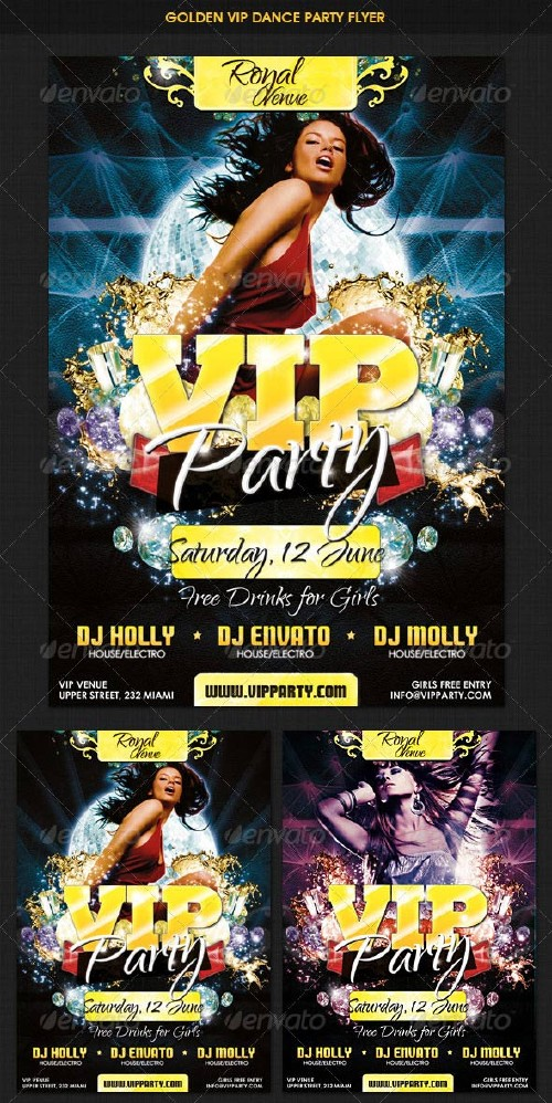GraphicRiver VIP Golden Dance Party Flyer