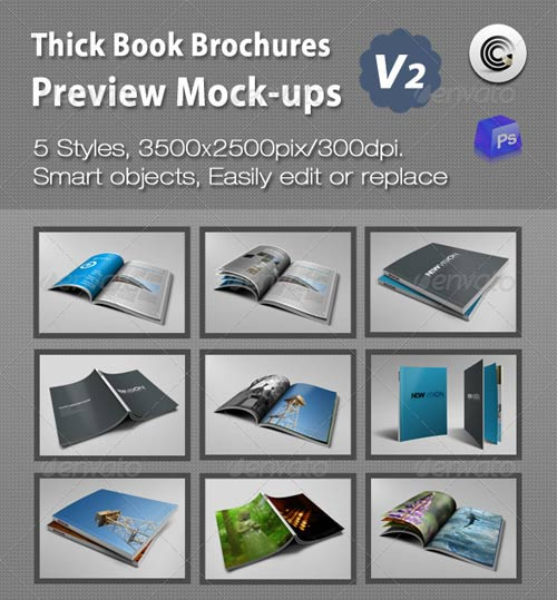 GraphicRiver Thick Book Brochures Preview Mock-Ups V2