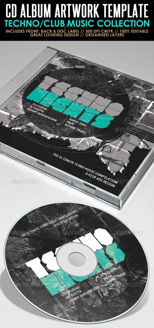 GraphicRiver Techno Nights Mixtape CD Artwork PSD Template