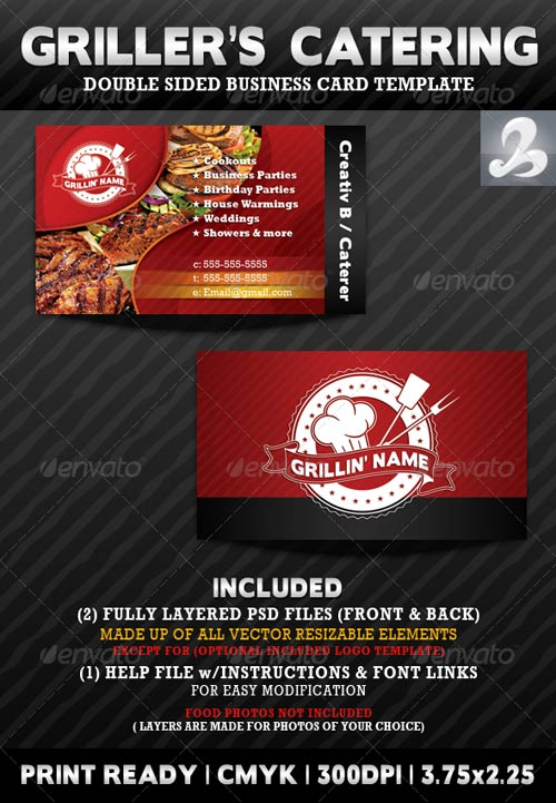 GraphicRiver Griller's Catering Business Card Templates