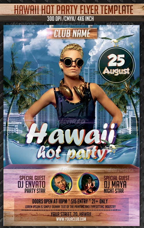GraphicRiver Hawaii Hot Party Print Template