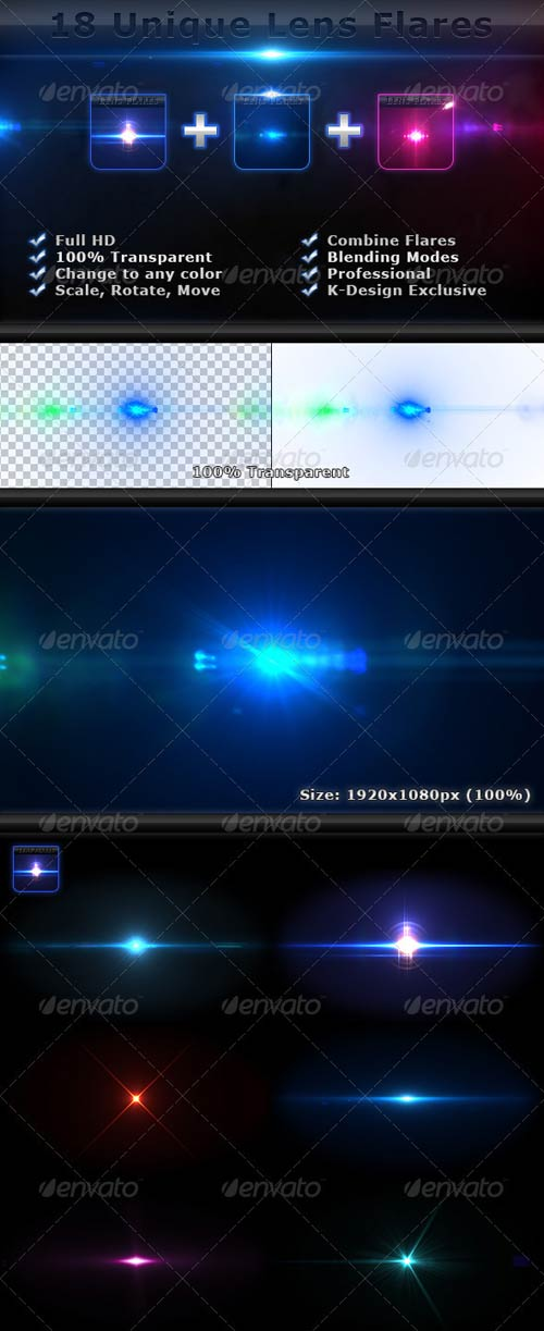 GraphicRiver 18 Unique Lens Flares - Light Effects Bundle 4-6