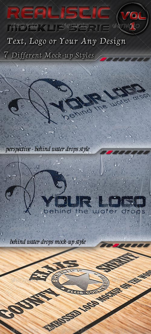 GraphicRiver 7 Logo Mockups Serie 1 - Realistic Display