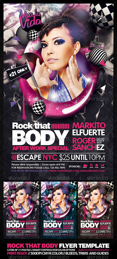 GraphicRiver Rock that Body Flyer