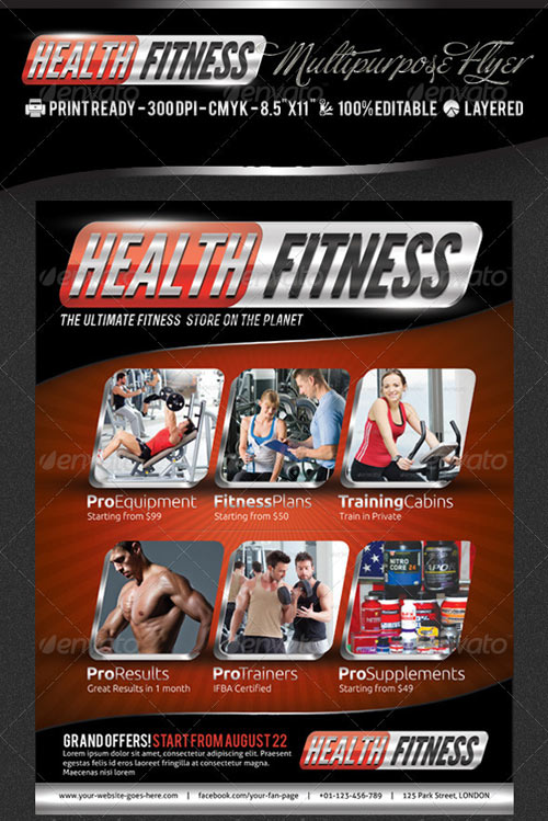 GraphicRiver Health & Fitness Pro Flyer & Business Card PSD
