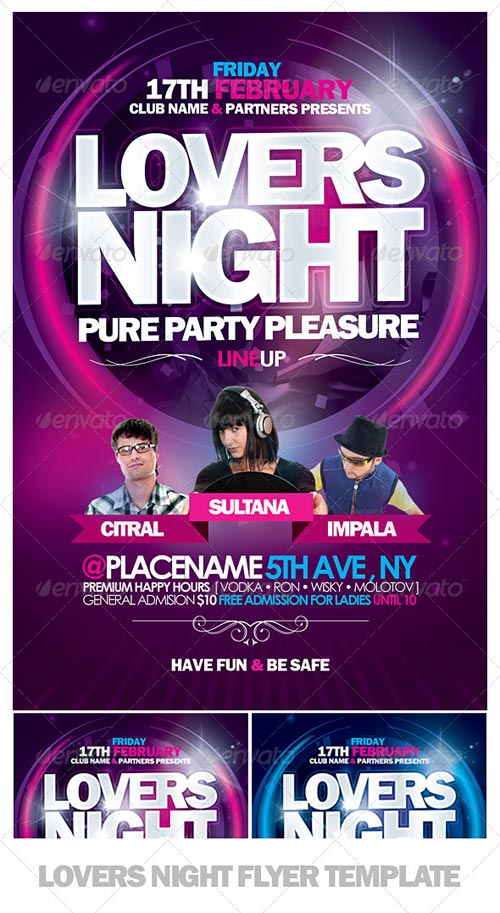 GraphicRiver Lovers Night Flyer Template