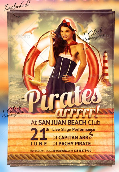 GraphicRiver Sailor Party Flyer Template