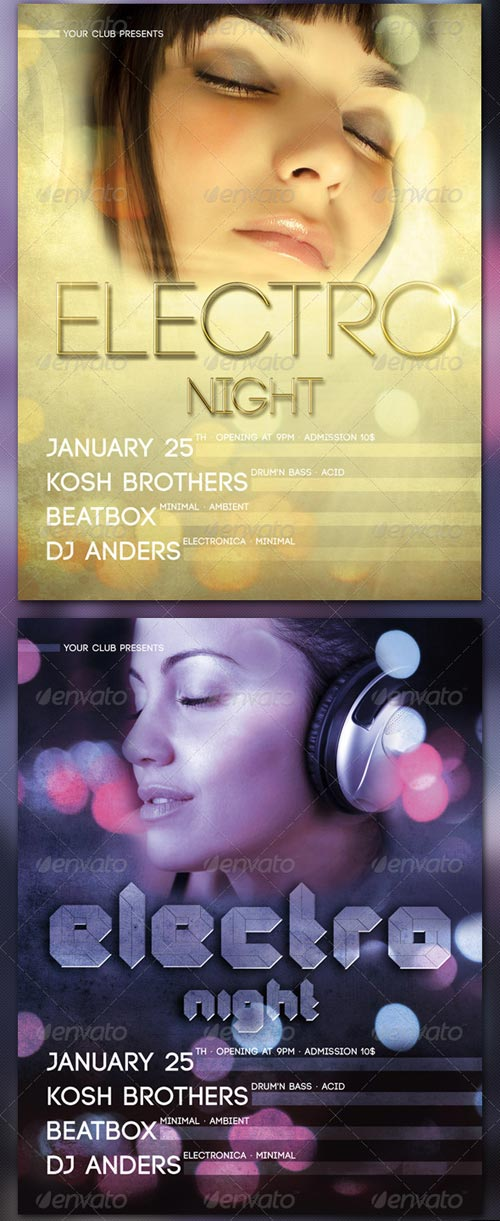 GraphicRiver Electro Night - Flyer Template - 2 Versions