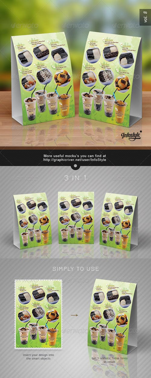 GraphicRiver Paper Table Tent Mock-up Template Vol.8