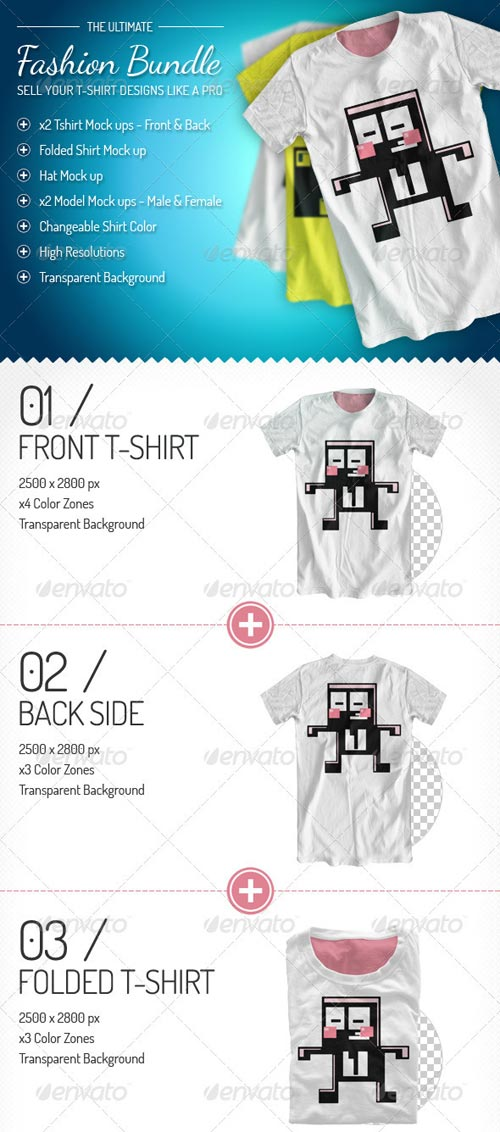 GraphicRiver Fashion Bundle - x3 T-shirt / x2 Models / Hat