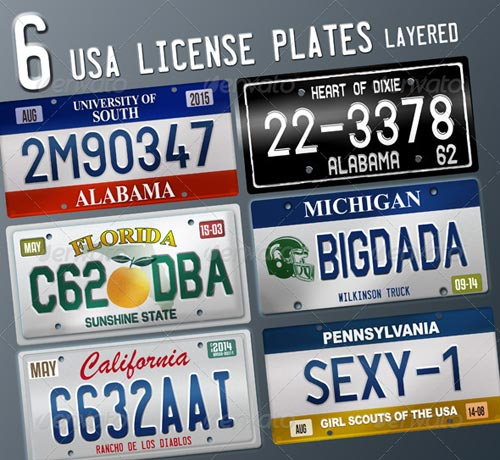 GraphicRiver 6 Layered USA License Plates