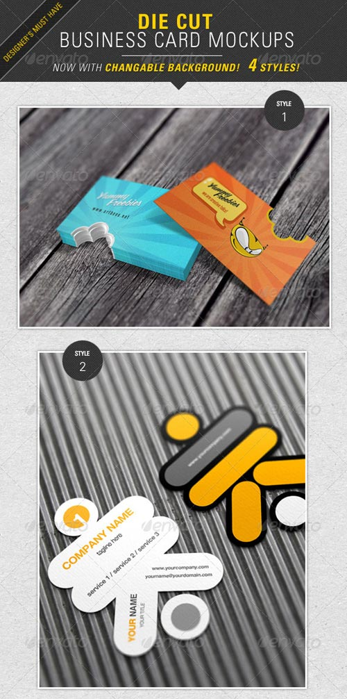 GraphicRiver Die Cut Business Card Mockup