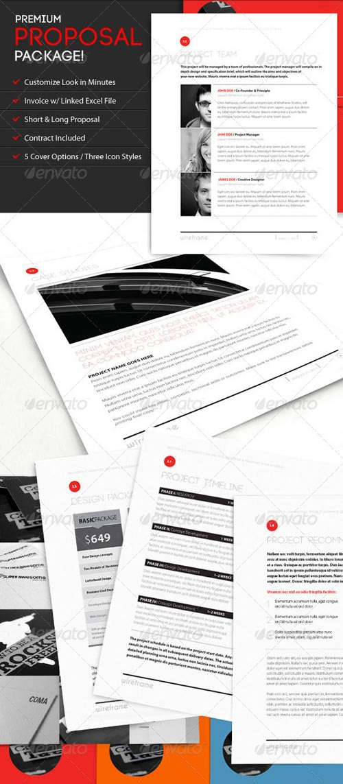 GraphicRiver Wireframe: Proposal Template w/ Invoice & Contract