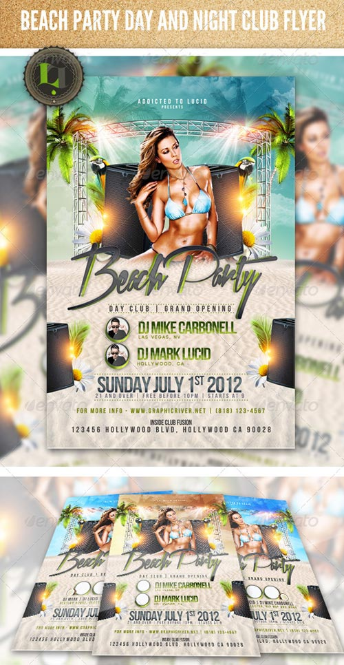 GraphicRiver Beach Party - Day and Night Club Flyer