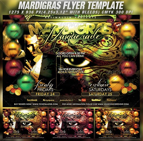 GraphicRiver Mardigras Masquerade Flyer Template